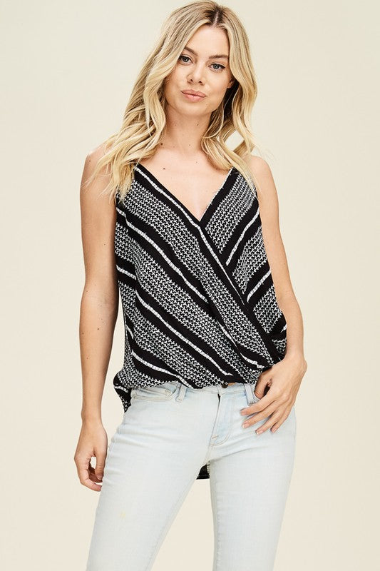 Black Geo Print Surplus Wrap Strappy Top (final sale)
