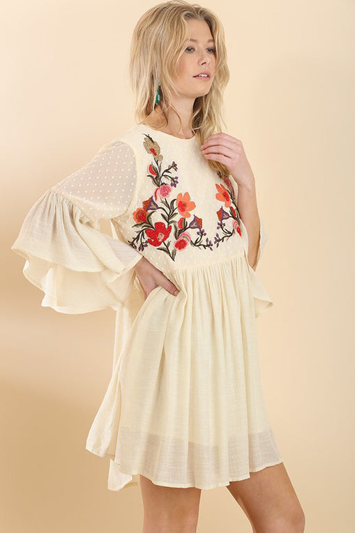Ivory Floral Embroider Bell Sleeve Dress