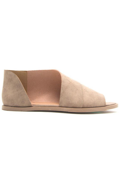 Taupe Distress Open Toe Ballerina
