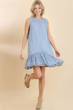 Sleeveless Blue Textured Lace Hem Dress