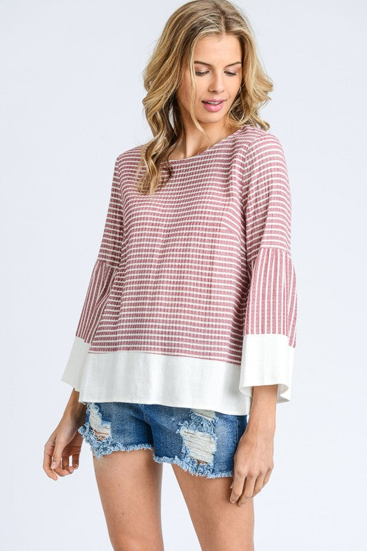 Red Striped Flare Sleeve Top