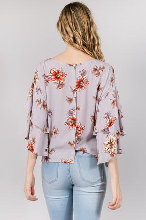 Lavender Floral Ruffle Sleeve Top (final sale)