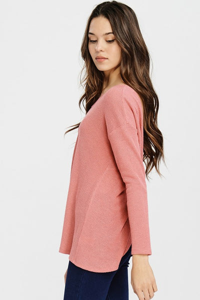 Coral Waffle Knit Twisted Back Sweater