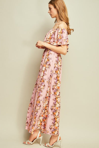 Rose Floral Off Shoulder Maxi Dress