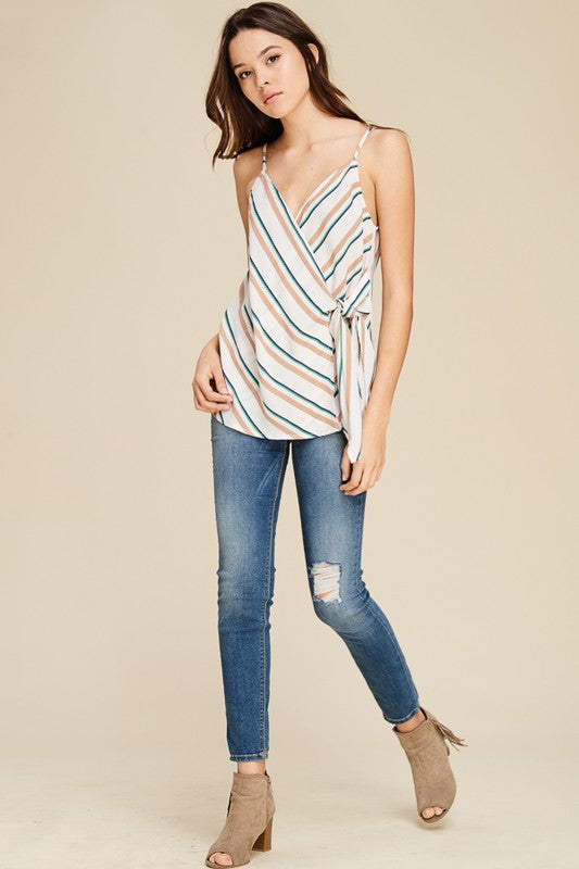 Ivory Stripe Surplus Tie Front Strappy Top