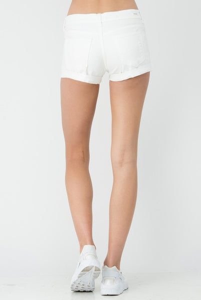 White Distressed Cuff Boyfriend Shorts (final sale)
