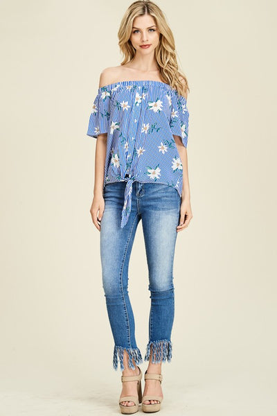 Blue Floral Stripe Off Shoulder Top