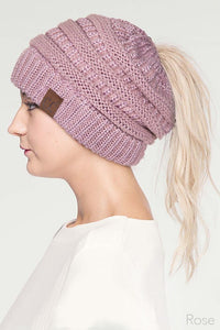 CC Metallic Ponytail Beanie (final sale)