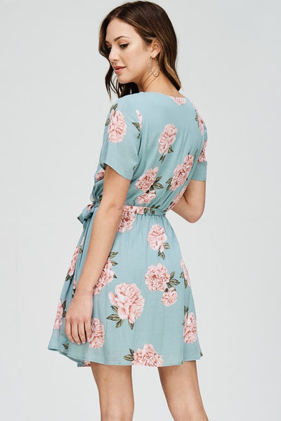 Mint Floral Surplus Waist Tie Dress
