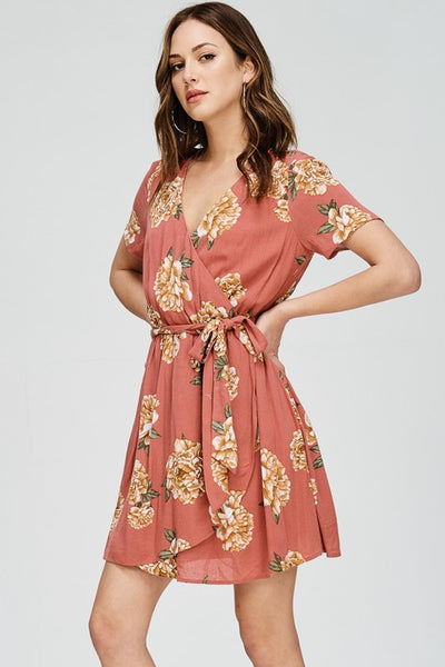 Rust Floral Surplus Waist Tie Dress