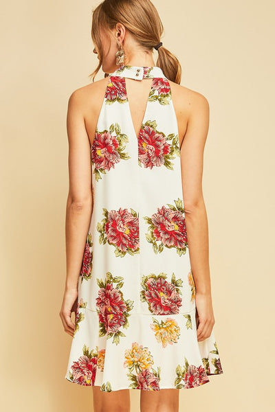 Ivory Floral Mock Neck Dropwaist Dress
