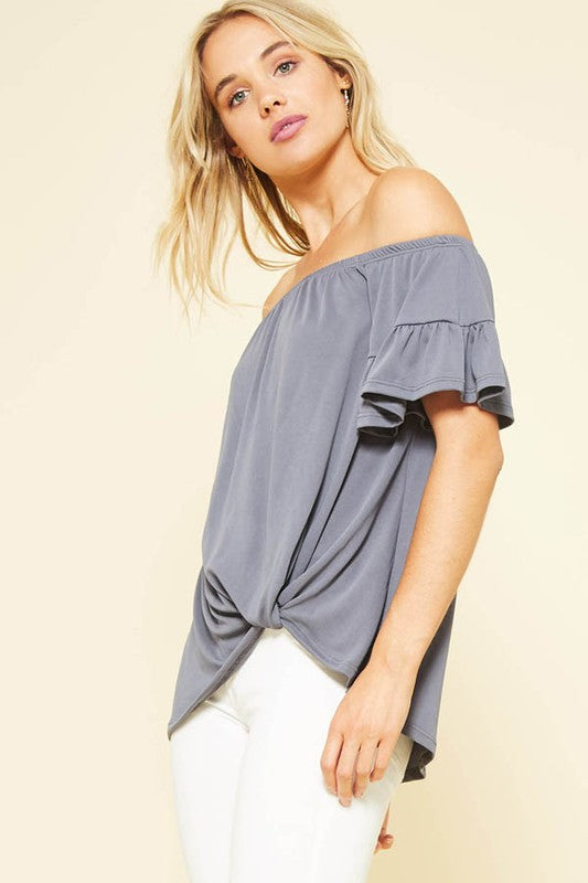 Charcoal Tiered Ruffled Sleeve Knotted Hem Detail Knit Top