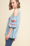 Light Blue Floral Embroidered Cold Shoulder Top