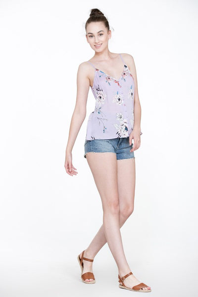 Lilac Floral Button Sleeveless Top (final sale)