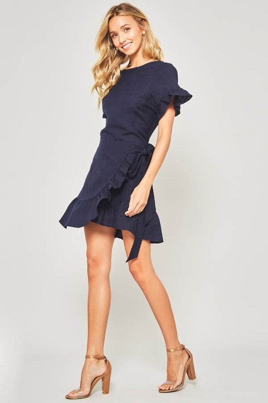 Navy Round Neckline Ruffled Short Sleeve Linen Mini Dress