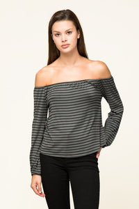 Olive/Black Off Shoulder Stripe Top