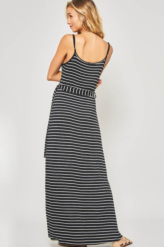 Black/White Plunging Neckline Striped Knit Maxi Dress