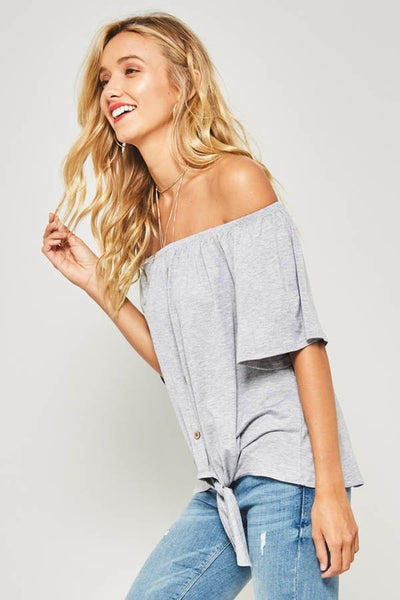 Grey Short Bell Sleeve Button Down Front Knit Top