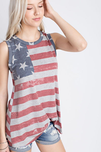 Vintage American Flag Sleeveless Top