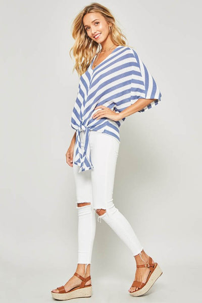 Blue/White Striped Waffle V-Neck Tie Top