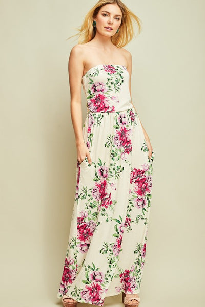 Cream Floral Print Strapless Maxi Dress