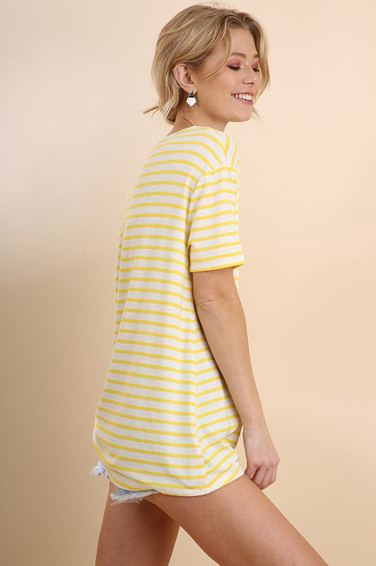 Yellow Striped Short Sleeve Top