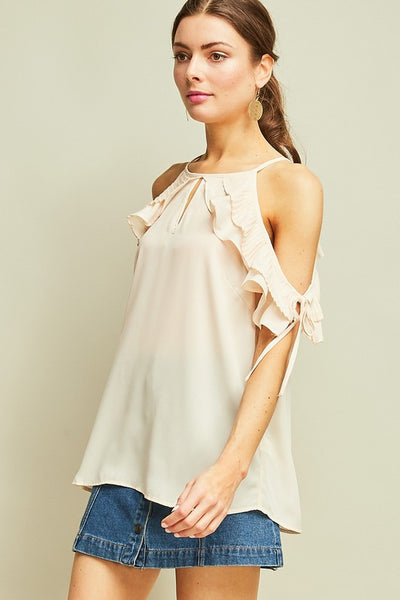 Natural Open Shoulder Ruffle Top