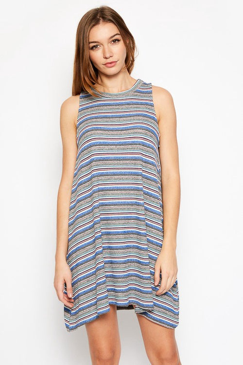 Blue Multi-Striped Sleeveless Tunic (final sale)