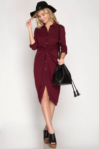 Red Long Sleeve Front Twist Midi Dress