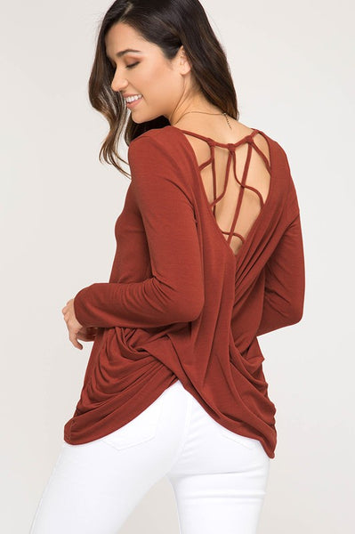 Rust Long Sleeve Cross Back Knit Top