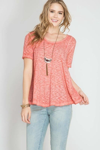 Coral Enzyme Keyhole Washed Tee (final sale)