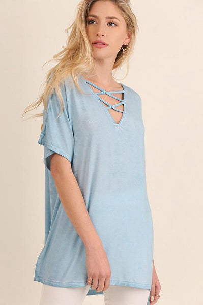 Light Blue Washed Cross Neck Tee (final sale)