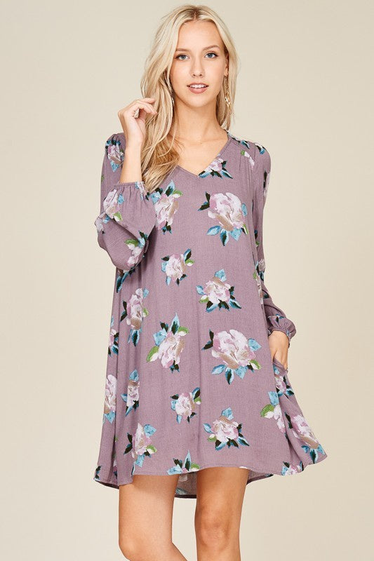 Plum Floral Shift Dress