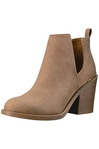 Toffee Distressed Side Slit Bootie