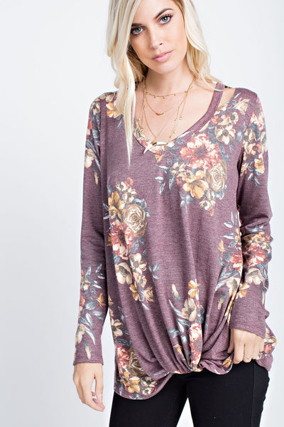 Burgundy Floral Cut Out Neck Top