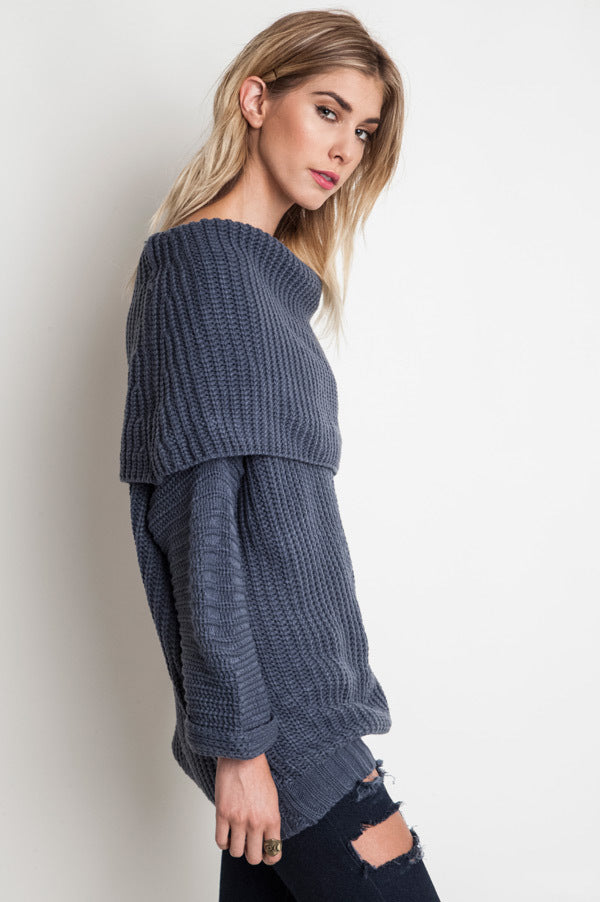 Dark Grey Fold Over Ribbed Sweater
