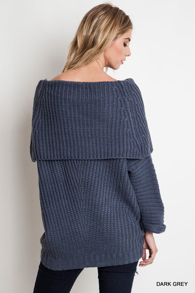 Dark Grey Fold Over Ribbed Sweater (final sale)