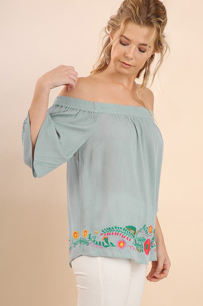 Dusty Blue Off Shoulder Embroidered Top (final sale)