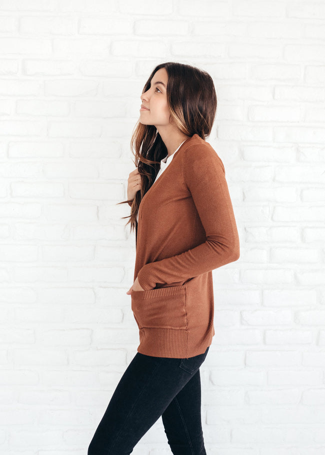 Clay Solid Ribbed Cardigan