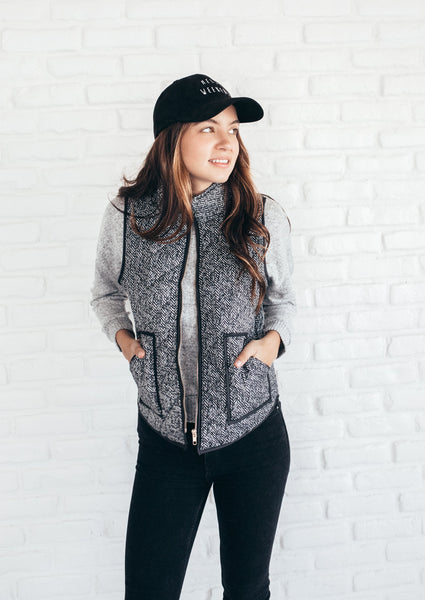 Black Herringbone Print Padded Vest
