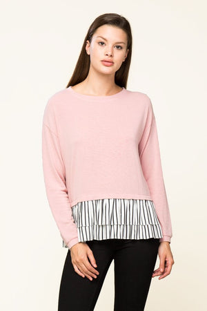 Blush Stripe Ruffle Hem Top (final sale)