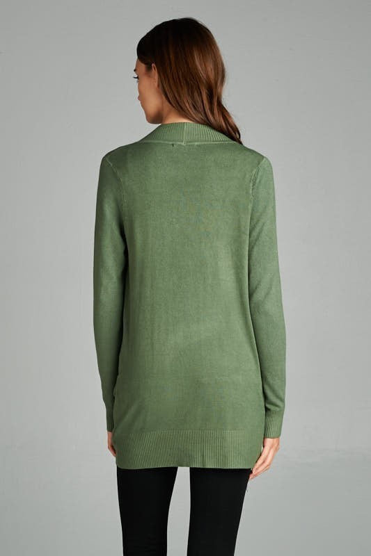 Green Solid Ribbed Pocket Cardigan - Single Thread Boutique - 2