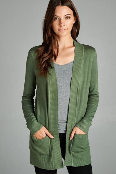 Green Solid Ribbed Pocket Cardigan - Single Thread Boutique - 1