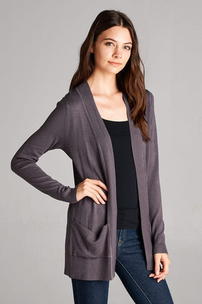 Green Solid Ribbed Pocket Cardigan - Single Thread Boutique - 3