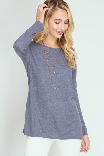 Navy Open Back Ribbed Top