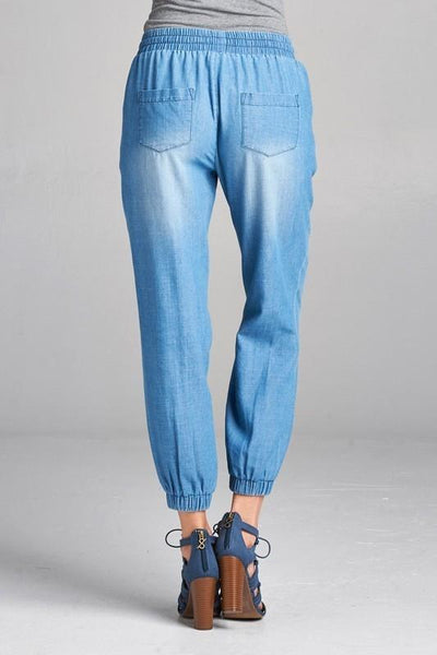 Distressed Chambray Jogger Pants (final sale)