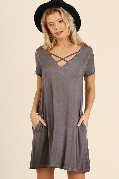 Grey V-Neck Criss Cross Pocket Dress