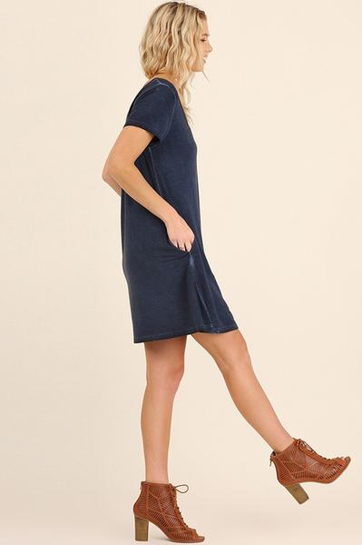 Navy V-Neck Criss Cross Pocket Dress
