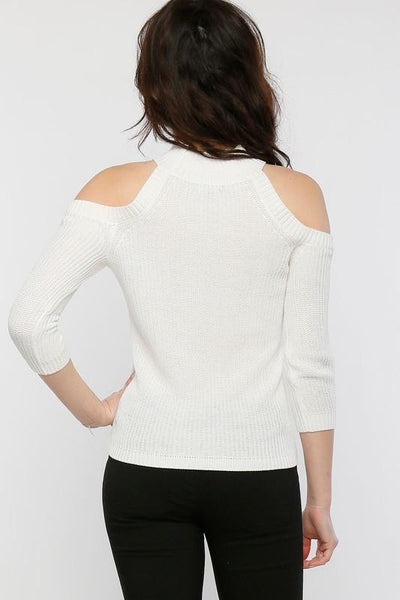 White Cold Shoulder Sweater (final sale)