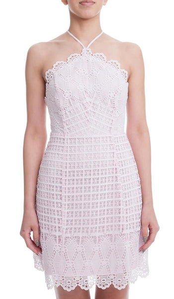 Icy Pink Halter Lace Dress